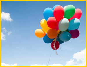 bright coloured balloons